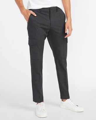 Express Extra Slim Solid Charcoal Cargo Flannel Suit Pants