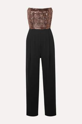 Mason by Michelle Mason Strapless Sequin-embellished Crepe Jumpsuit - Black