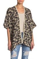 Angie Dolman Sleeve Open Front Floral Print Kimono
