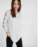 Express petite cut-out shoulder tunic