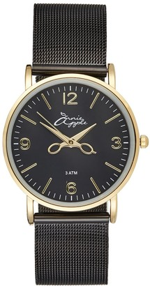 Bermuda Watch Company Alore Gold/Black Mesh Hairdresser Scissor Hands Watch