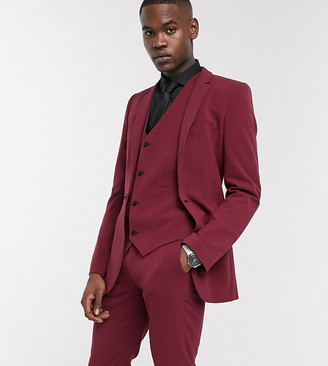 ASOS DESIGN Tall super skinny suit jacket in burgundy