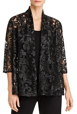 Caroline Rose Botanical Burnout Open-Front Cardigan