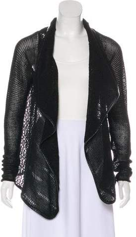 Zadig & Voltaire Leather-Trimmed Open Knit Cardigan
