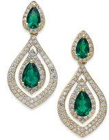 Macy's Emerald (1-1/5 ct. t.w.) and Diamond (3/4 ct. t.w.) Drop Earrings in 14k Gold