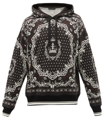 Dolce & Gabbana Bandana-print Cotton Hooded Sweatshirt - Black White