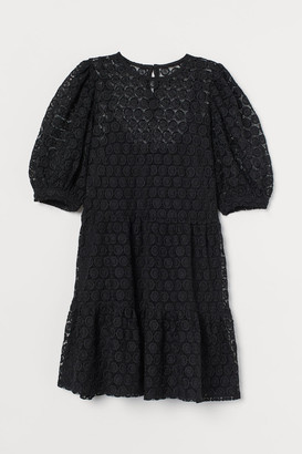 H&M Puff-sleeved Lace Dress - Black