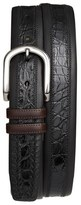 Mezlan Men's 'Lipari' Nappa & Genuine Crocodile Leather Belt