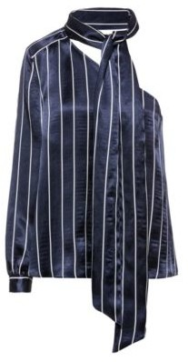 HUGO BOSS Striped One Shoulder Top With Neck Scarf - Patterned