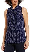 MICHAEL Michael Kors Tiny Dot Print Tie-Neck Pleat Front Blouse