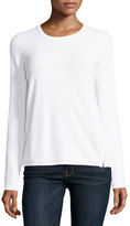 Vince Side-Zip Crewneck Sweater, Optic White