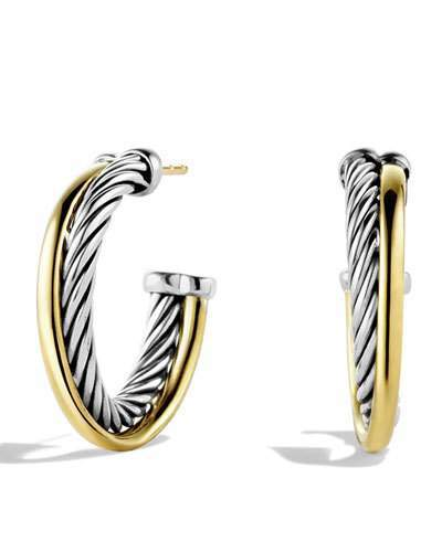 David Yurman Crossover Small Hoop Earrings with Gold