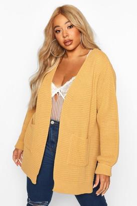 boohoo Plus Waffle Knitted Chunky Oversized Cardigan