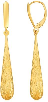Finecraft Crystal-Cut Teardrop Drop Earrings in 14K Gold - Yellow