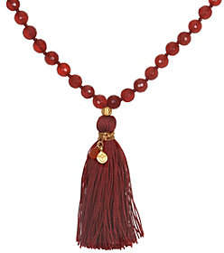 Satya Mala Gemstone Tassel Necklace, Goldtone B