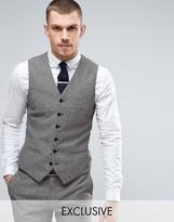 Heart & Dagger Super Skinny Waistcoat In Herringbone Fleck Tweed
