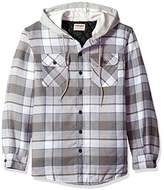 Wrangler Men's Long Sleeve Quilted Lined Flannel Shirt Jacket With Hood