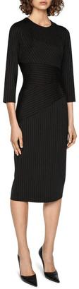 Cue Striped Spliced Pencil Dress