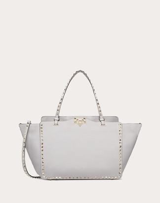 Valentino Garavani Medium Rockstud Grainy Calfskin Bag Women Pastel Grey Calfskin 100% OneSize