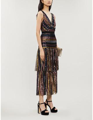 Self-Portrait Striped sequinned midi dress