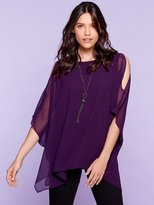 M&Co Cold shoulder top with necklace