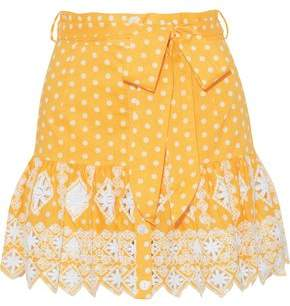 Miguelina Emy Polka-Dot Broderie Anglaise Cotton Mini Skirt