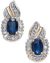 Macy's Sapphire (1-1/5 ct. t.w.) and Diamond (1/4 ct. t.w.) Drop Earrings in 14k Gold