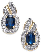 Macy's Sapphire (1-1/5 ct. t.w.) & Diamond (1/4 ct. t.w.) Drop Earrings in 14k Gold
