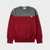 Paul Smith Boys' 7+ Years Burgundy Cashmere-Blend Zebra-Logo Sweater