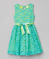 Mulberribush Mint Lace Belted Jackie Dress - Girls