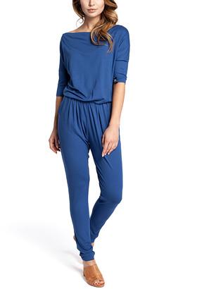 Bewear BeWear Women's Jumpsuits blue - Blue Cowl Neck Blouson Jumpsuit - Women