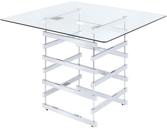 Metal, Glass Mirror Top Counter Height Table With Metal Architectural Base, Chrome & Clear
