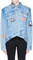 Ground Zero Mixed anime patch asymmetric denim jacket