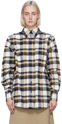 Victoria Beckham Off-White and Navy Oversized Lumberjack Shirt