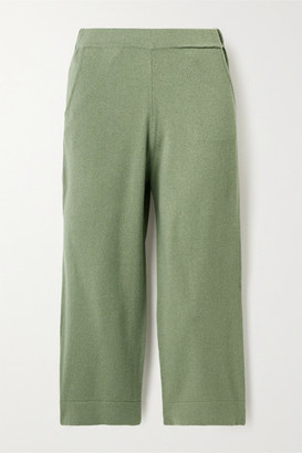 Allude Cropped Cashmere Track Pants - Green