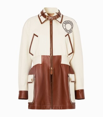 Burberry Leather Trim Riding Jacket