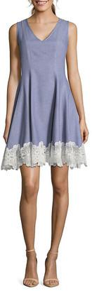 Nicole Miller Crochet Trim Linen-Blend A-Line Dress