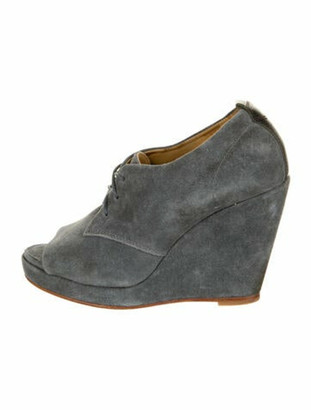 Rag & Bone Suede Leather Trim Embellishment Lace-Up Boots Grey