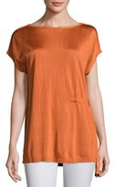 Lafayette 148 New York Radiant Shimmer Short-Sleeve Sweater w/ Tie-Waist Detail, Plus Size