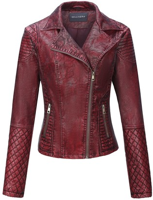 Bellivera Women's Faux Leather Short JacketDistressed Retro Frosted Moto Casual Coat Red Small