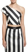 KENDALL + KYLIE One-Shoulder Striped Crop Top