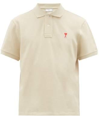 Ami Logo Cotton-pique Polo Shirt - Mens - Beige