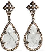 Loree Rodkin 18-karat Rhodium White Gold, Sapphire And Diamond Earrings - Silver