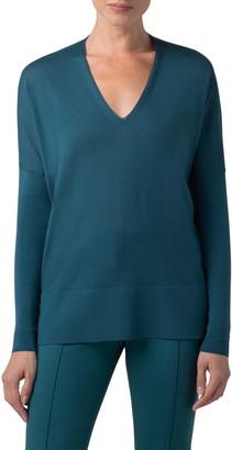 Akris Punto Oversize V-Neck Merino Wool Sweater
