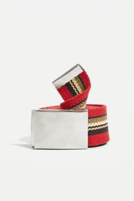 Urban Outfitters Red Striped Canvas Belt - Red ALL at