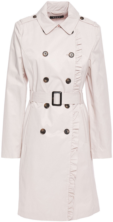 DKNY Ruffle-trimmed Cotton-blend Gabardine Trench Coat