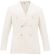Odyssee - Double-breasted Striped Slubbed-oxford Suit Jacket - Mens - Cream Multi