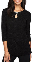 Alex Evenings Glitter Embellished Keyhole Neck 3/4 Sleeve Tunic