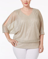 MSK Plus Size Metallic Cold-Shoulder Top