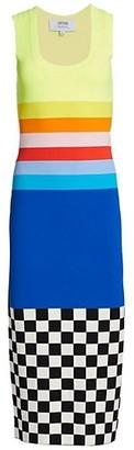Christopher John Rogers Rainbow & Check Bodycon Midi Dress